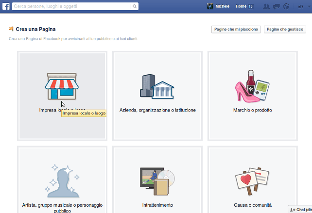 screenshot crea pagina facebook