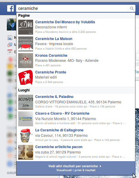 screenshot di una ricerca su facebook