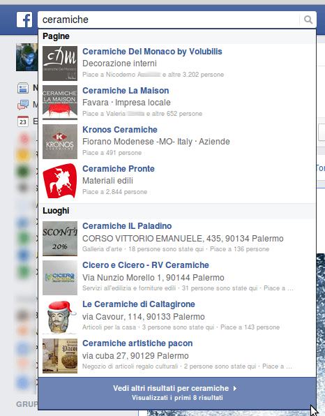 screenshot di una ricerca su facebook