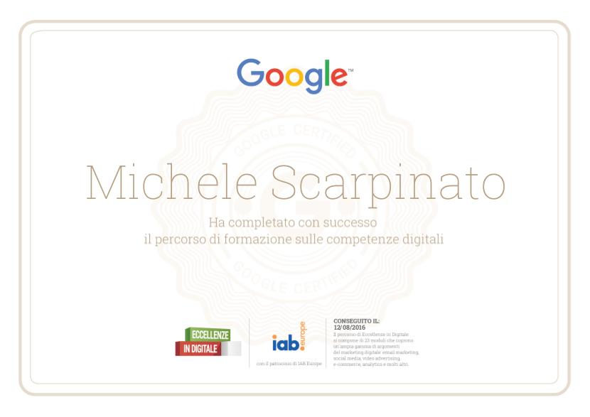 Eccellenze in digitale - Certificato Michele Scarpinato